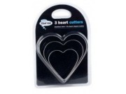Chef Aid 3 Stainless Steel Heart Shaped Cutters