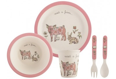 Creative Kids Pressed Bamboo Fibre Kid's Dinner Set with Pink Trim (5 piece)
