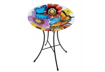 Gardman Butterfly Glass Bird Bath (Height 46cm / Diameter 35cm)