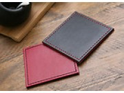 Justin Capp Set of 4 Reversible Faux Leather Coasters (red / black)