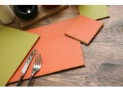 Justin Capp Set of 4 Reversible Faux Leather Coasters (orange / lime)