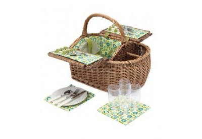 Kitchen Craft Coolmovers 'Meadow Lane' 4 Person Fitted Picnic Basket (HALF PRICE: was £69.99)