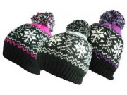 Rock Jock Ladies Knitted Fairisle Bobble Hat