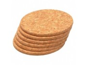 T & G Woodware Six (6) Cork Round Coasters (small)