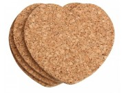 T & G Heart Shaped Cork Coasters x 4 (110 x 110mm)