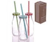 Vintage Style Glass Milk Bottle with Coloured Top & Straw