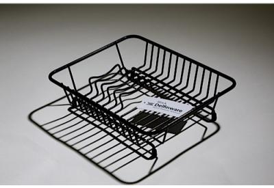 Delfinware Compact Flat Dish Drainer Black (Size: 90mm x 315mm x 250mm)